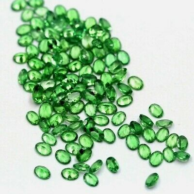 Lot of 3x2mm to 6x4mm Oval Cut Tsavorite Green Garnet Loose Calibrated Gemstone