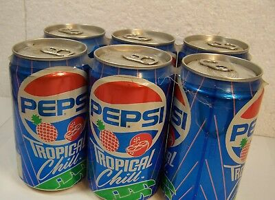 vtg PEPSI TROPICAL CHILL SODA POP CANS empty 6 pack ADVERTISING Fruit Flavor
