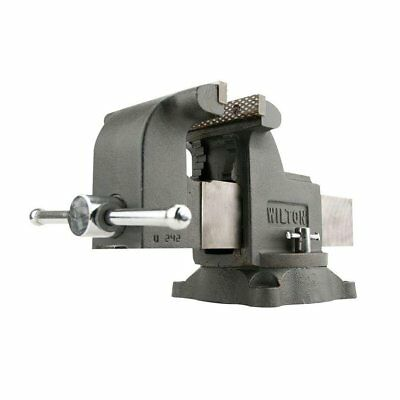 Wilton WS8 8 Inch Jaw 4 Inch Throat Steel Swivel Base Work Shop Bench Vise, Gray