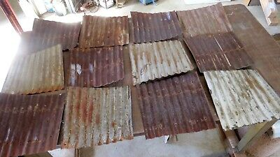 "12-pcs RECLAIMED CORRUGATED METAL / TIN ROOFING PANELS 12"" x 12"""