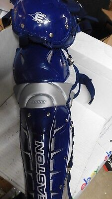 """New Easton Leg Guards Stealth Speed A165061 16"""" Bl/Sivr Adt Catcher"""