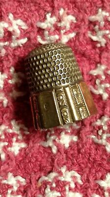 Ant. Ornate Sterling Silver Thimble With Gold Overlay Band