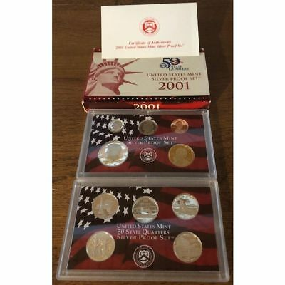 Gorgeous SILVER 2001 S US Mint Proof 10 Coin Set Birth Year Christmas, Birthday