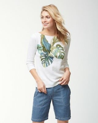 TOMMY BAHAMA $88 Villa Fronds Tropical Leaf Palm Tree Print Tee Top Size Large