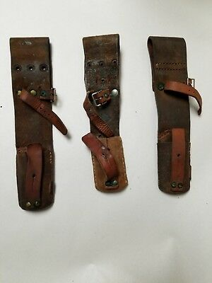 """Set Of 3 M96 Swedish Mauser Bayonet Leather Frog. Broken Sold """"as Is""""."""
