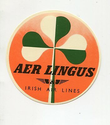 Vintage Airline Luggage Label AER LINGUS  Irish Airlines shamrock