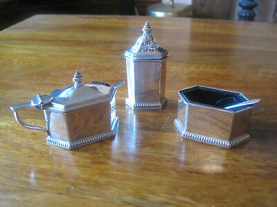 solid silver 3 piece condiment set by the goldsmiths & silversmiths company