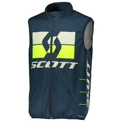 Vest Cross Scott Gilet Enduro Blu Giallo Antivento Tg Xl