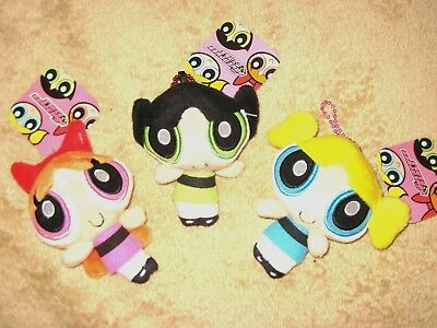 "Lot of 3 Powerpuff Girls Plush Keychain/Pendants, 4"" Tall, (NWT)"