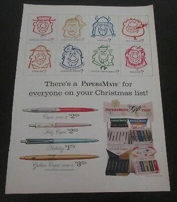 1959 original ad Paper Mate Pens for Christmas comic art of Gift Recipients