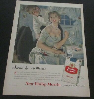 1956 original ad Philip Morris Cigarettes Man Helps Wife with Zipper on Dress