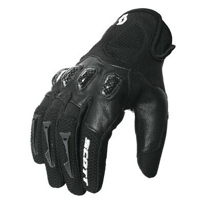 Guanti Moto Strada Enduro Cross Scott Assault Carbonio Pelle Nero Black Tg M