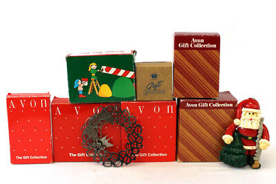 Variety Lot of 9 AVON Christmas Holiday Ornaments Handcrafted Wood or Plastic