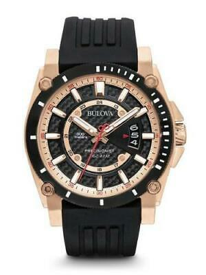 Bulova Men's Precisionist Analog Chronograph Black Rose Gold Watch 98B152