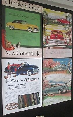 Lot of 12 original ads 1940 to 1949 Chrysler Cars lot #1
