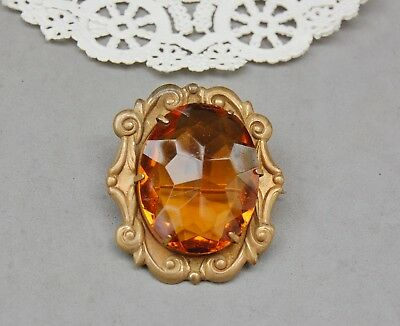 Amber Glass & Brass Pin Pendant Combo Vintage Antique Faceted Victorian 1 7/8""