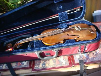 Violin In  Modern  Case &  Bow for restoration or spare /  Labelled