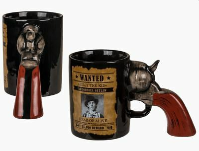 Billy The Kid Wanted Poster Cowboy Pistol Gun 3D Handle Novelty Coffee Mug Cup