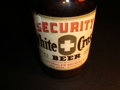 Circa 1940s White Cross Brewing IRTP Labeled Bottle, Remmler, Red Wing, MN