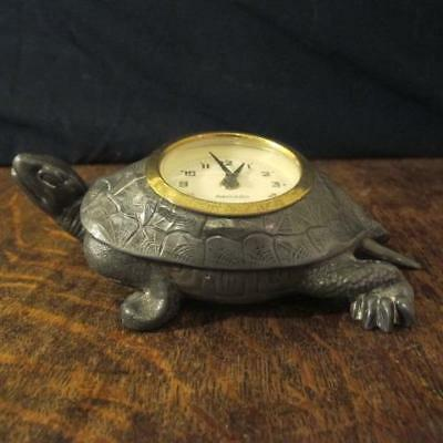 Vintage Art Deco Style German Spelter Tortoise Mercedes Movement Desk Clock