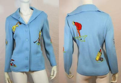 Vtg 50s 60s Golf Themed Embroidered Hipster Cardigan Sweater Andreno Argenti L