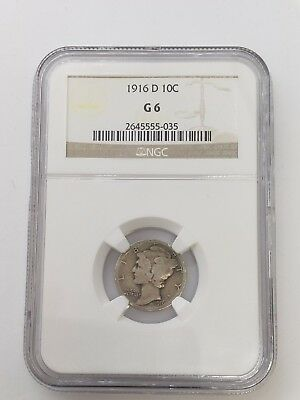 1916-D Mercury Dime 10C Silver Coin NGC G 6 - Key Date - No Reserve