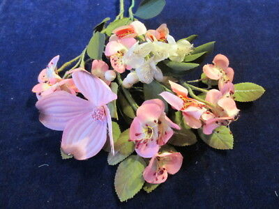 "Vintage Shabby Millinery Flower Collection Pink White Ivory 1-3"" H2368"