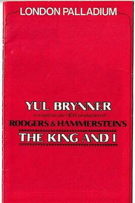 The King And I, Yul Brynner, London Palladium 1980 Theatre Programme