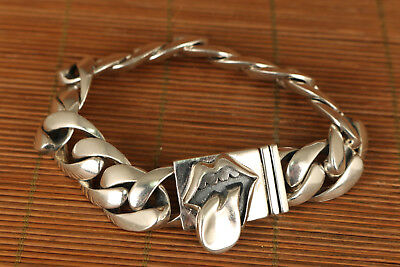 Fine 2002 S925 solid Silver Valuable Hand Carved Red lip Bracelet noble gift