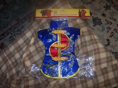 CHINESE SILK KIMONO WINE BOTTLE COVER Sealed NOS