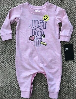 Nike Infant Girls One Piece Outfit Pink Size 6 Months Just Do It Long Sleeve