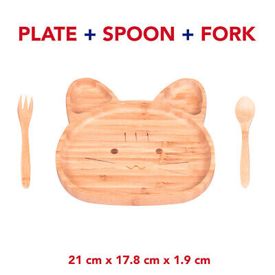 Bamboo Baby Toddler / Wood Kitty Plate Stay Put Feeding Plate Natural