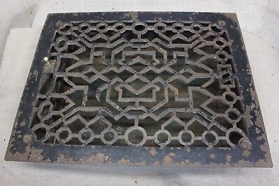 "Heat grate register louvers old 13 3/8 x 10 3/8"" vintage paint PAT 1894 CHIPPED"