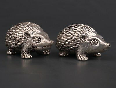 Copper Plated Silver Cute Animal Hedgehog Statue  Figurine Good Luck Decoration