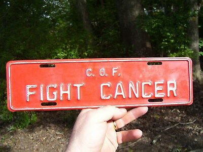 Original 1960's FIGHT CANCER license plate topper auto gas oil sign vintage car