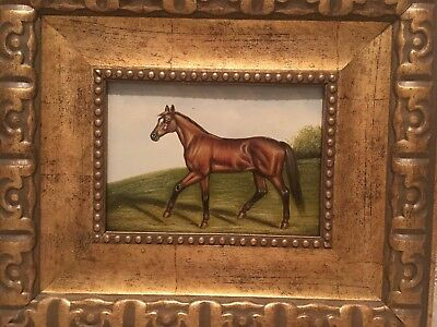 Country French Framed Oil Painting-Horse In Field