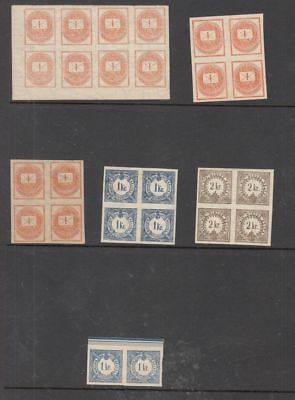 oldhal-Hungary- Newspaper & Tax Stamps in Blocks o 8 & 4