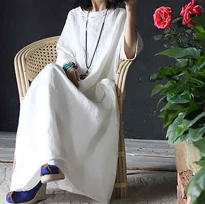 Retro Womens Casual Leisure Maxi Plus Size Linen Long Dress Caftan Gown Y489