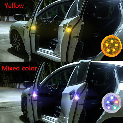 2/4PC Wireless LED Door Open Warning Anti Collid Signal Flash Light For Car