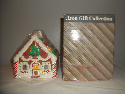 """VINTAGE AVON GINGERBREAD HOUSE CANDLE HOLDER, in Original Box 6"""" TALL"""