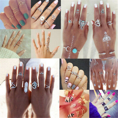 Charm Multi-theme Retro Above Knuckle Ring Set Leaves Love Stack Midi Band Ring