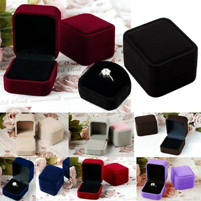 Charm Velvet Jewelry Earring Ring Pendant Display Storage Organizer Square Box