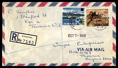 Kingston Jamaica Oct 2 1969 Registered Air Mail Cover To Phoenix Az Usa