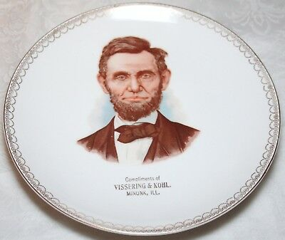 Early 1900's Advertising Plate MINONK IL Vissering & Kohl ABRAHAM LINCOLN