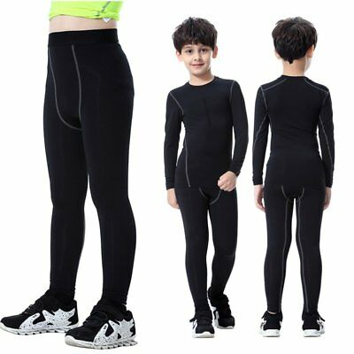 US Kids Boys Long Leggings Compression Base Layer Pants Tight Running Trousers