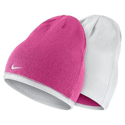 Nike Reversible Winter Knit Hat Beanie Girls Youth Size 7/14 Pink White Fleece