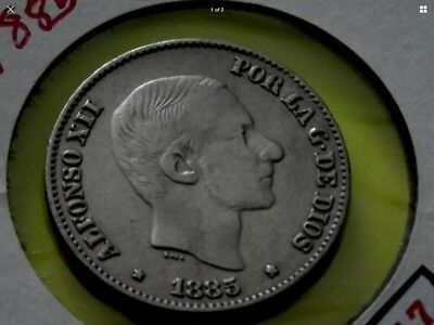 SPANISH PHILIPPINES COIN  ALFONSO XII 50 Centimos De Peso Silver Coin F317