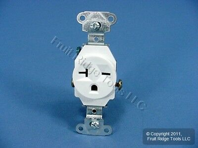 New P&S White Straight Blade Single Outlet Receptacle NEMA 6-20R 20A 250V 5851-W