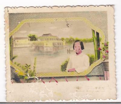 Chinese Girl Hand Colored Studio Photo Painted Backdrop 1950s China