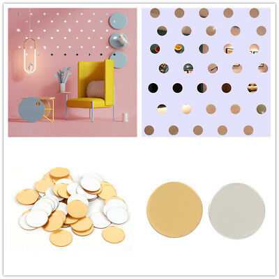 50 Pieces Mirror Tiles Self Adhesive Back Round Home Decor Wall Stickers Mosaic